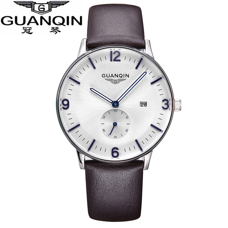 GUANQIN watches fashion waterproof mens watch leather strap male fashion the trend of commercial table sports quartz watch wireless restaurant calling system 5pcs of waiter wrist watch pager w 20pcs of table buzzer for service