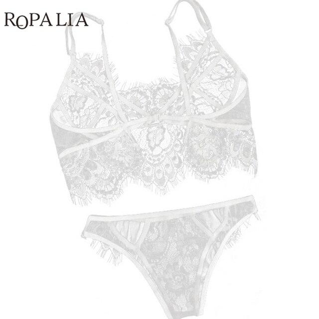 Sexy Lace Bralette Sets Women Black White Lingerie Trim Straps Bra ... 5a651f5fa