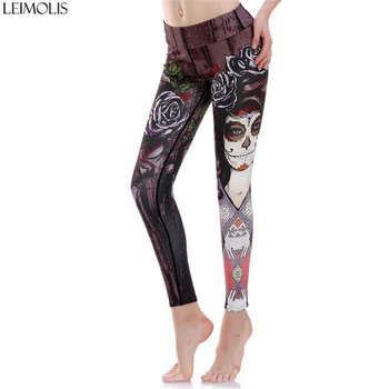 LEIMOLIS Witch Beast ocean octopus black gothic print Harajuku High Waist workout push up plus size fitness leggings women pants 2