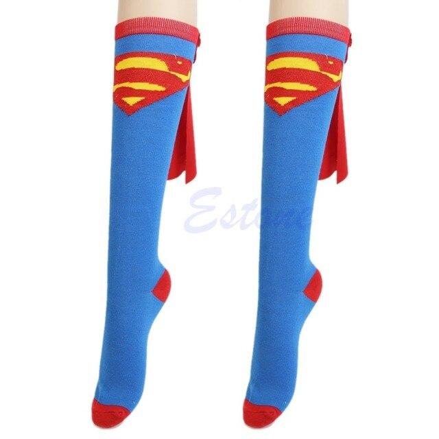 Super héros Superman Batman genou haut avec Cape football chaussettes Cosplay Costume ZL661
