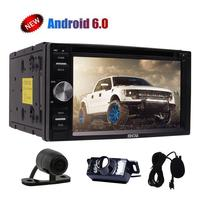 Android 6.0 Car DVD CD Player Double 2 Din Car Head unit Stereo 6.2'' HD Touch Screen In Dash GPS Navi Auto Radio+Dual Cameras