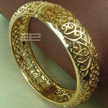 ФОТО 18k yellow Gold GF Vintage style  solid womens bangle Bracelet G97