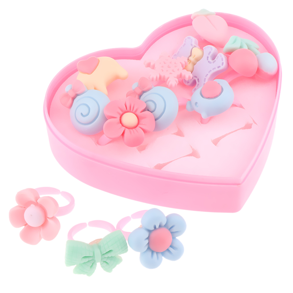 12pcs/Box Adorable Handmade Assorted Finger Rings, Pretend Play Dress Up Game Simulation Jewelry Toy for Girls image