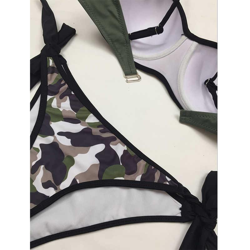 2018 Новый Камуфляжный бикини женский купальник сплошной армейский купальник регулируемые ремни купальный костюм S-2XL низкая талия боди бикини набор