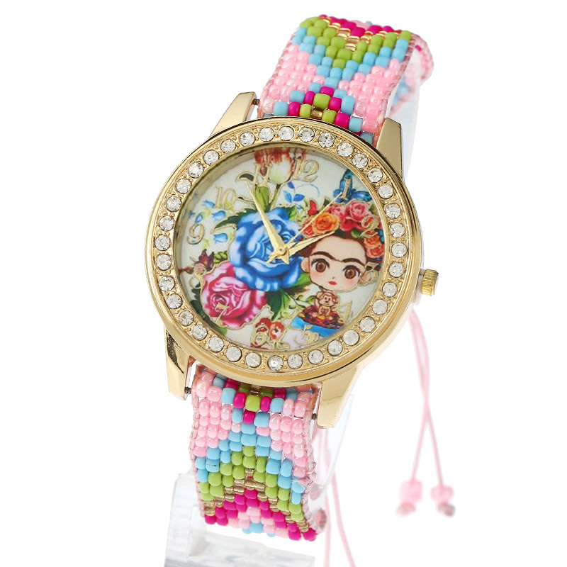 Gnova platinum Women Watch Chaquira Ethnic Frida Blue Roses Rhinestone Geneva Style fashion quartz wristwatch Reloj femme B204 gnova platinum women watch casual dress wristwatch blue jeans bike pu leather reloj lady bicecly fashion geneva style a926