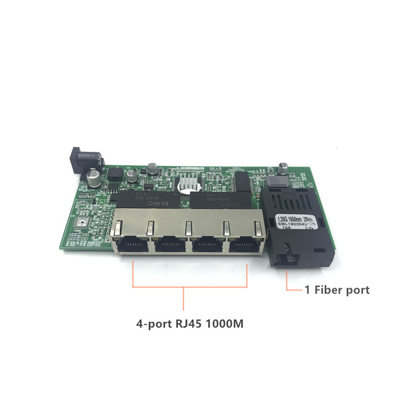 Image 5 - 10/100/1000M Gigabit Ethernet switch Optical Media Converter Single Mode 4 RJ45 UTP and 1 SFP fiber Port Board PCB motherboard-in Network Switches from Computer & Office