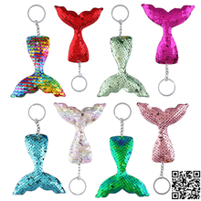 8pcs Multicolor Sequins Mermaid Keychain for Kids DIY Charms Keyring Pendants Jewelry Accessories