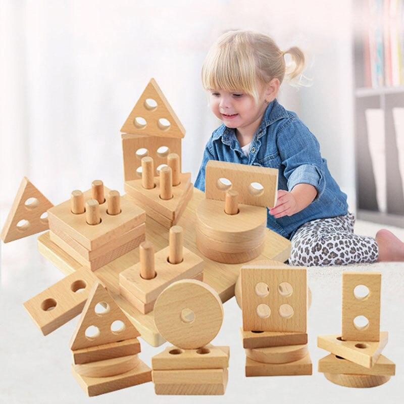 1 set criancas blocos de empilhamento de madeira formas geometricas blocos educacao toy para o bebe