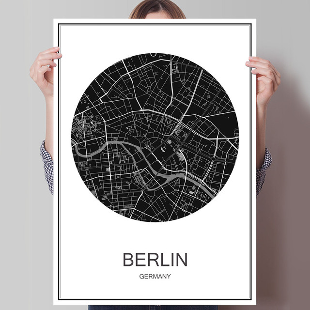 Germany berlin world city map abstract print picture modern poster canvas coated paper oil painting cafe