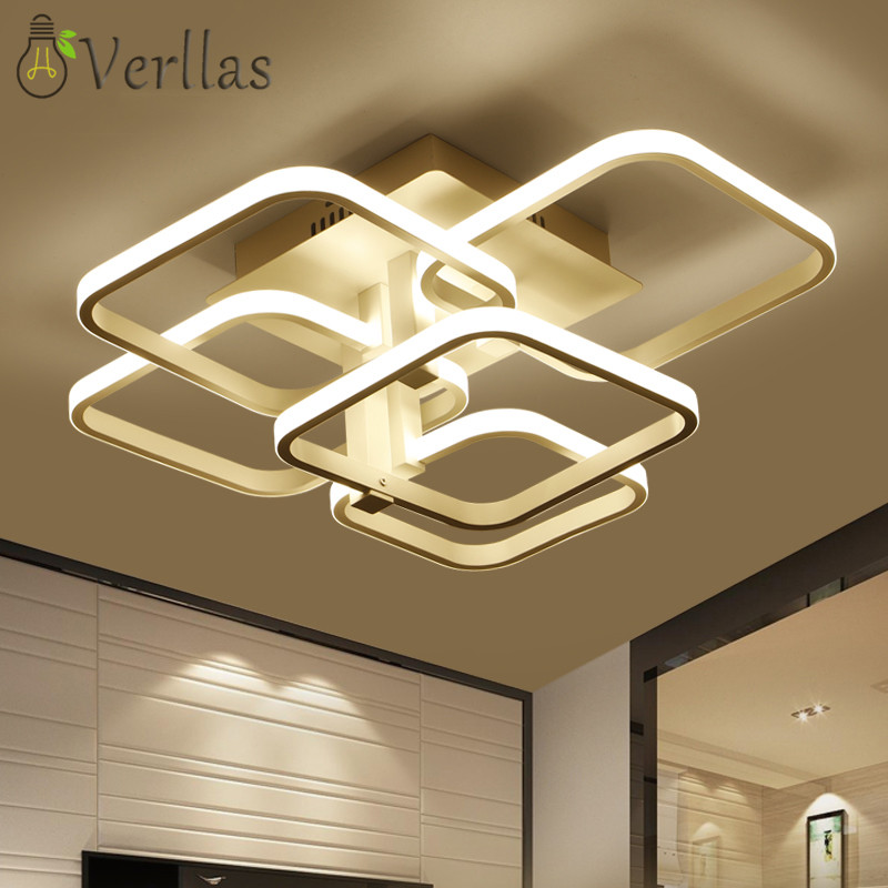 Verllas Acrylic Rings LED Ceiling Lights For Living Room Bedroom AC85-265V Modern Led Ceiling Lamp Fixtures lampara techo black or white rectangle living room bedroom modern led ceiling lights white color square rings study room ceiling lamp fixtures