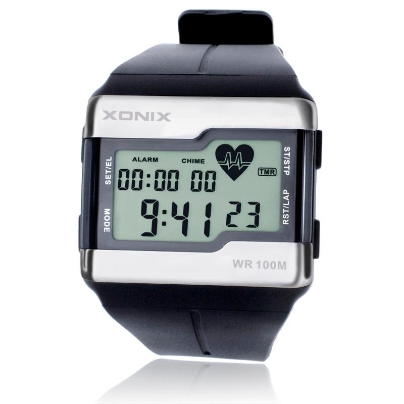 गरम!!! शीर्ष फैशन दिल दर पर नज़र रखने वाले पुरुष खेल घड़ियाँ पनरोक 100 मीटर डिजिटल घड़ी तैराकी डाइविंग कलाई घड़ी मॉन्ट्रो होमे