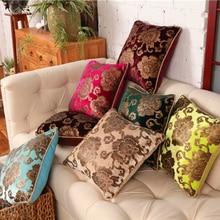 Funda de almohada de terciopelo con flores Vintage de alta calidad, cojín para silla, cojines para sofá, cojines para decoración del hogar, Almofada Kussenhoe