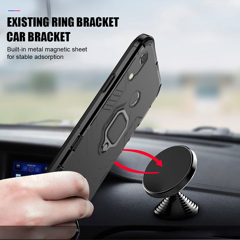 Case For Huawei Y6 2019 case Armor Ring Magnetic Car Hold Shockproof Soft Bumper Protection Phone Cover For Huawei Y6 2019 Case in Fitted Cases from Cellphones Telecommunications