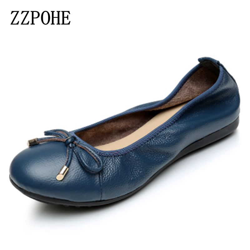 ZZPOHE Shoes Woman 2017 Fashion Genuine Leather Women Flats Shoes Soft bottom Casual Comfortable Women Single Shoes Plus Size электромобиль mercedes benz sls amg белый
