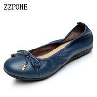 ZZPOHE Shoes Woman 2017 Fashion Genuine Leather Women Flats Shoes Soft Bottom Casual Comfortable Women Single