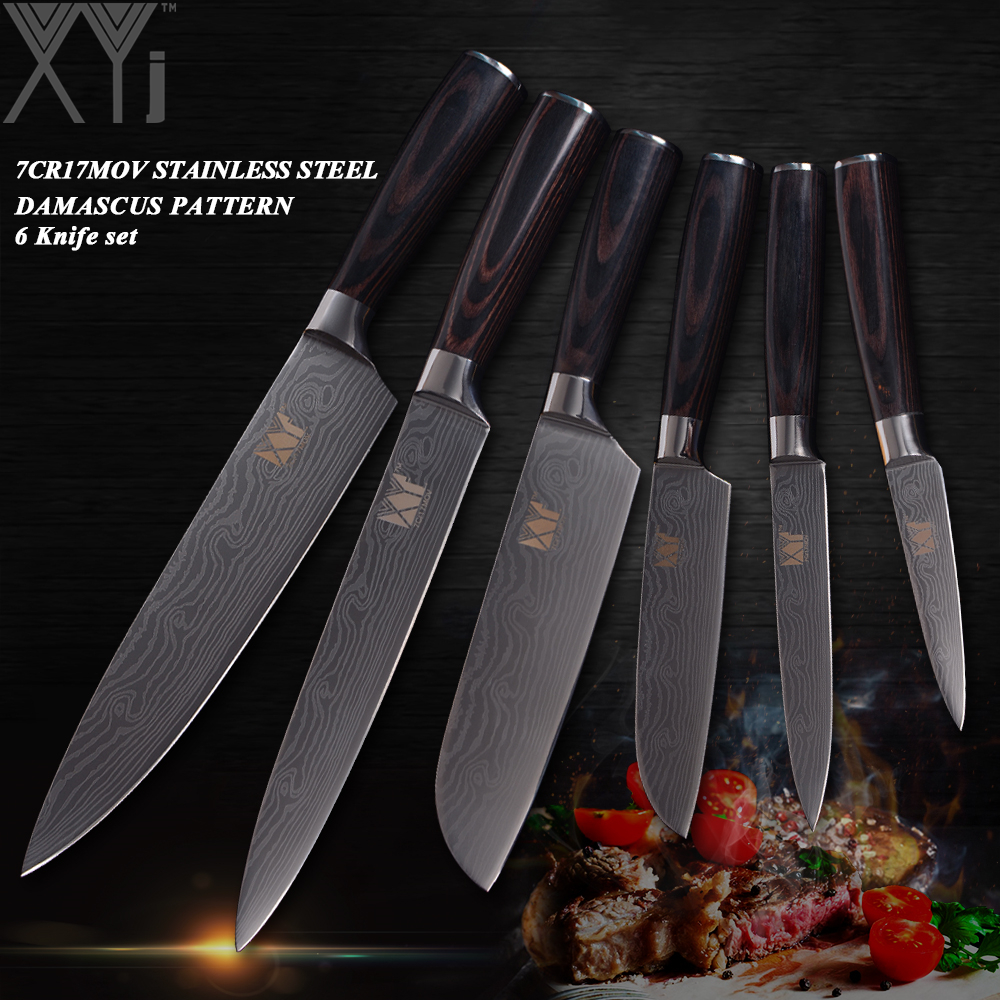 XYj Stainless Steel Kitchen Knives 6 PCS Set High Carbon Blade Wood Handle Kitchen Knife Master