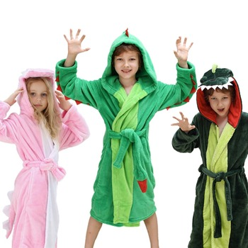 Girls Boys' Plush Hooded Bathrobe - Dinosaur Fleece Robe 1