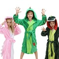 Плюшевый банный халат с капюшоном для девочек и мальчиков-флисовый халат с динозавром