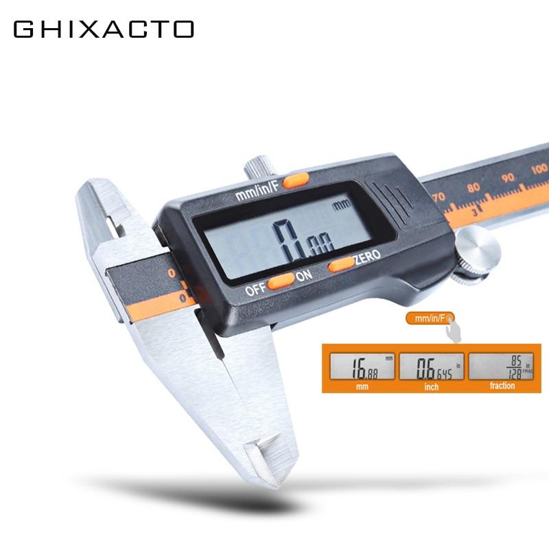 GHIXACTO Digitale Messschieber 6 zoll 150mm Edelstahl Elektronische Sattel 3 Modus LCD Mikrometer Tiefe Mess Werkzeuge