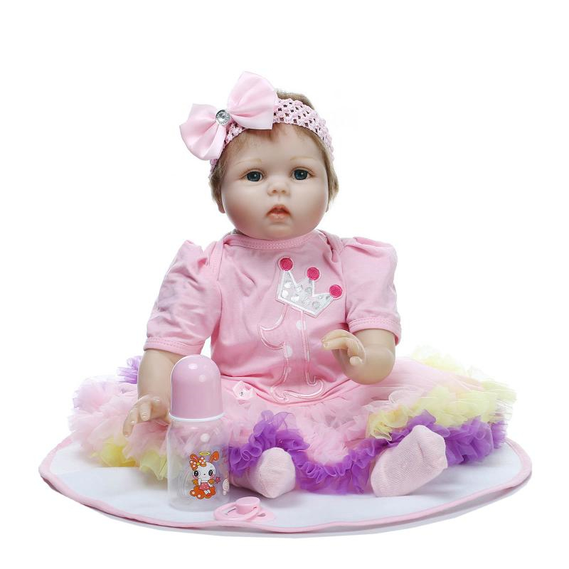 55cm/22 Lifelike Reborn Beautiful Girl Dolls Soft Silicone Vinyl Handmade Kids Gift Toy Collection 55cm 22 handmade lifelike baby silicone vinyl realistic reborn toddler dolls girl play toy collection