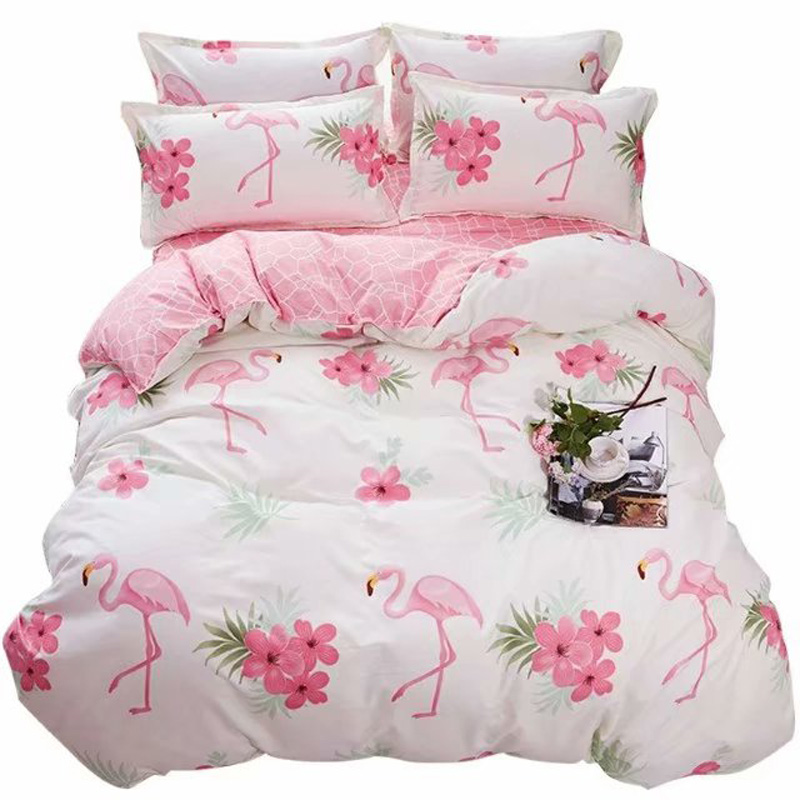 Single Double Flamingo Bedding Sets Russia Europe Duvet Cover Set 220x240 Queen King Bed Linen Set Bed Set Bedclothes Pink