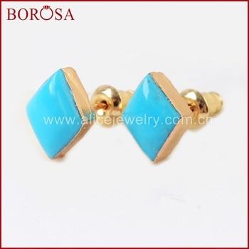 Pendientes de tuerca turquesas naturales de diseño BOROSA en forma de rombo Color dorado, pendientes de tuerca de piedra azul Natural para mujer G1521