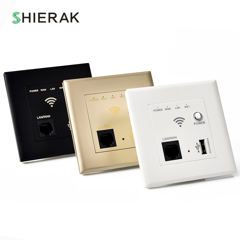 SHIERAK 300M Wall Wireless AP Router USB Charging Port 1000mA Output Smart Wall WIFI Router Panel Socket 10A беспроводной маршрутизатор phicomm fir303c 300m ap