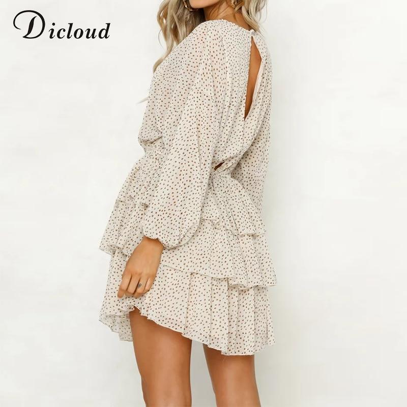 af99a42d6a DICLOUD polka dot dress women white backless mini party dresses long ...