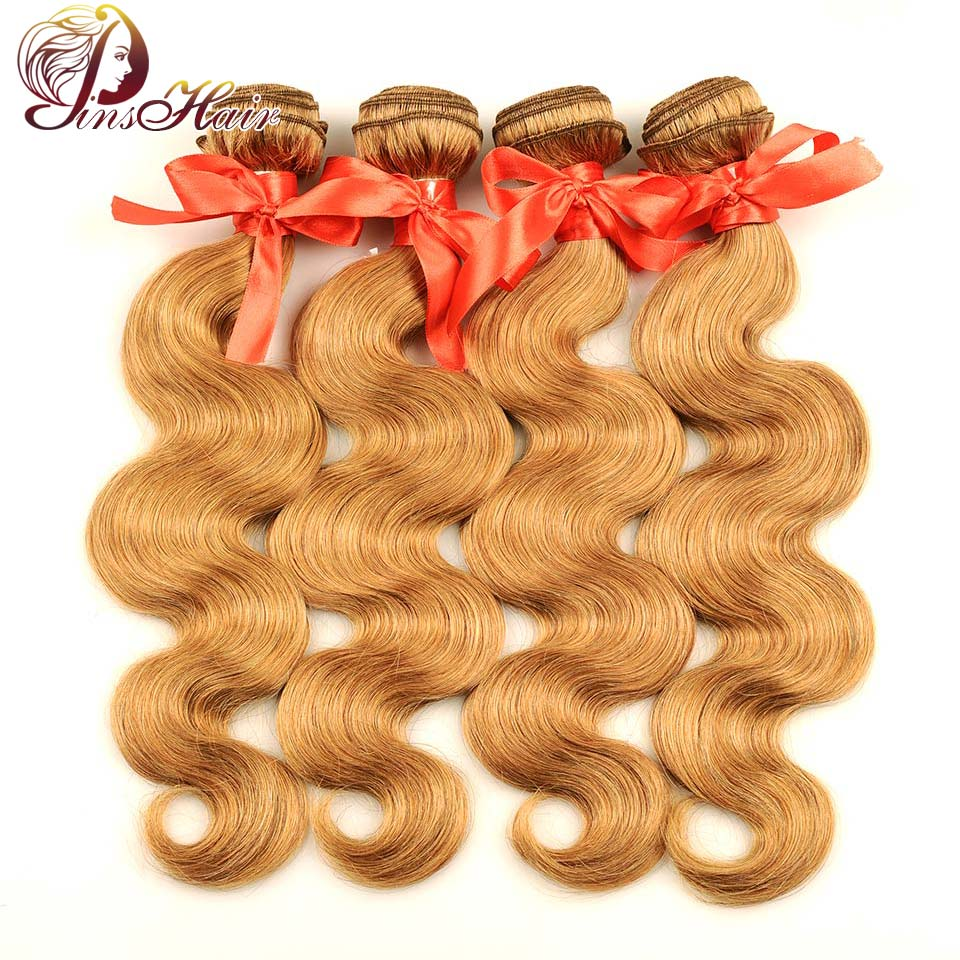 Pinshair 4 Pcs Pack Body Wave Hair Honey Blonde Brazilian Hair Weave Bundle Deals 27 100
