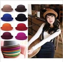 Spring and summer gentlewomen hat cute small dome women's fedoras roll-up woolen hem vintage cap jazz hat