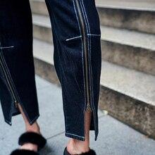 TWOTWINSTYLE High Waist Black Jeans for Women Front Zipper Trousers Denim Female Pants Boyfriend Casual Clothes Korean Big Sizes