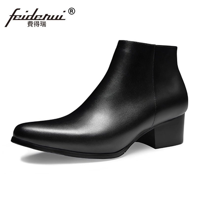 Spring Autumn Italian Style High-Top Man  Shoes Genuine Leather Pointed Toe Med Heels Mens Cowboy Ankle Boots SS88Spring Autumn Italian Style High-Top Man  Shoes Genuine Leather Pointed Toe Med Heels Mens Cowboy Ankle Boots SS88