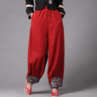Women Loose Chinese Style Embroidery Bloomers Autumn Ethnic Wide Leg Boho Pants Elastic Waist Vintage Baggy