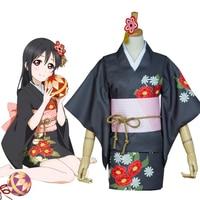 Hot LoveLive! Cosplay Nico Yazawa Yukata Kimono Halloween Party Cosplay Costume For Women Girls