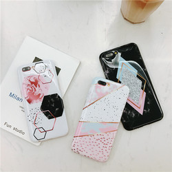 For Case IPhone Marble Geometric Back Cover Polish Stitching Geometry Imd Marble Stone Gel Case For IPhone 6S X 7 8Plus Fundas 3
