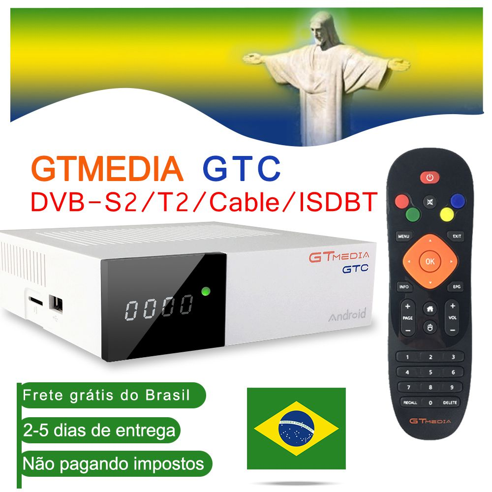 TV Box Android 6.0 TV BOX DVB-S2/T2/Cable/ISDBT Amlogic S905D 2GB RAM 16GB ROM GTmedia GTC Decoder With 1 Year Free CCCAM Lines