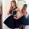 Fashionable Little Black Dresses Homecoming Dresses Appliques 2016 O-Neck Open Back A Line Short Party Dress Formal CF1