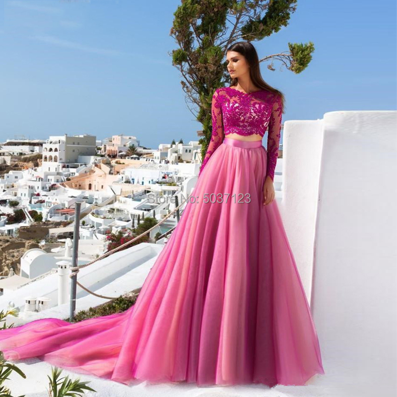 Hot Pink Two Piece Prom Dresses Lace Long Sleeves A-line Appliques Tulle Long Formal Party Evening Gown Vestidos