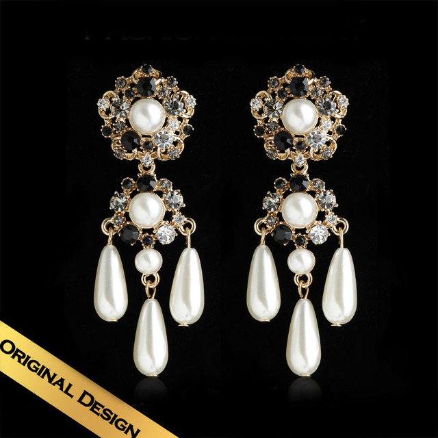 Special Drop Earrings Man Made Pearls Synthetic Colorful Diamond Classic Vintage Foreign Design Free Shipping Jewelry EH13A0401
