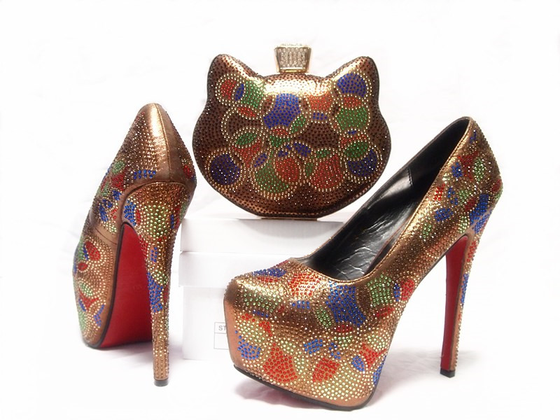 bef2a397d125d8 Elegant coffee with many colorful stones high heel shoes matching small cat  special clutches bag SB8019 shoes and bag set -in Women s Pumps from Shoes  on ...