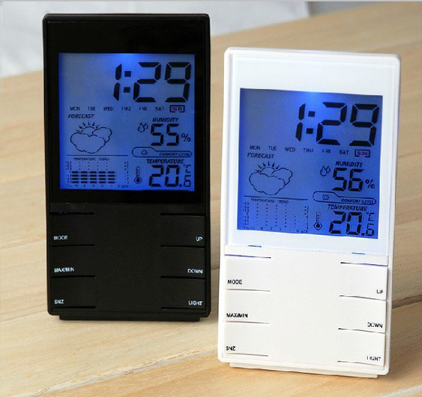 creative smart home alarm clocks led large screen electronic clock weather station with snooze. Black Bedroom Furniture Sets. Home Design Ideas