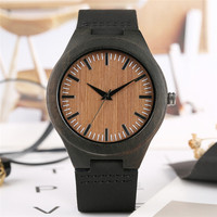 a097605f73f0 Bamboo Watch Mens Watches Quartz Genuine Leather Watchband Fashion Unique  Wooden Watch For Mens Reloj Masculino