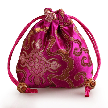 Chinese Vintage Silk Bag Jewelry Packaging Satin Mini Drawstring Pouch Round Bottom Floral Wedding Candy Gift Bags  50pcs/lot