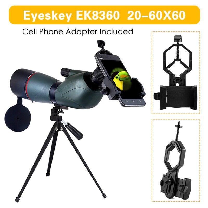Original Eyesky EK8360 Waterproof 20-60x60 Spotting Scope 45 degree Angled Monocular+Tripod+Cell Phone Adaptor for Bird Watching  цены