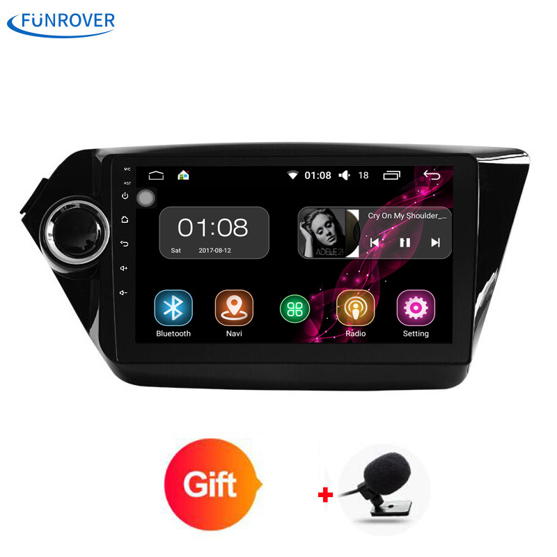 Funrover 9 inch 2G+32G Car DVD player For Kia Rio K2 2011 2012 in dash board Car radio video player tape recorder Android 8.0 FM