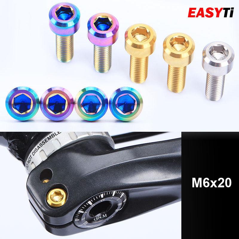 4pcs M6x20mm Titanium Ti screw Bolts bicycle Disc Brake Caliper Adapter Mount