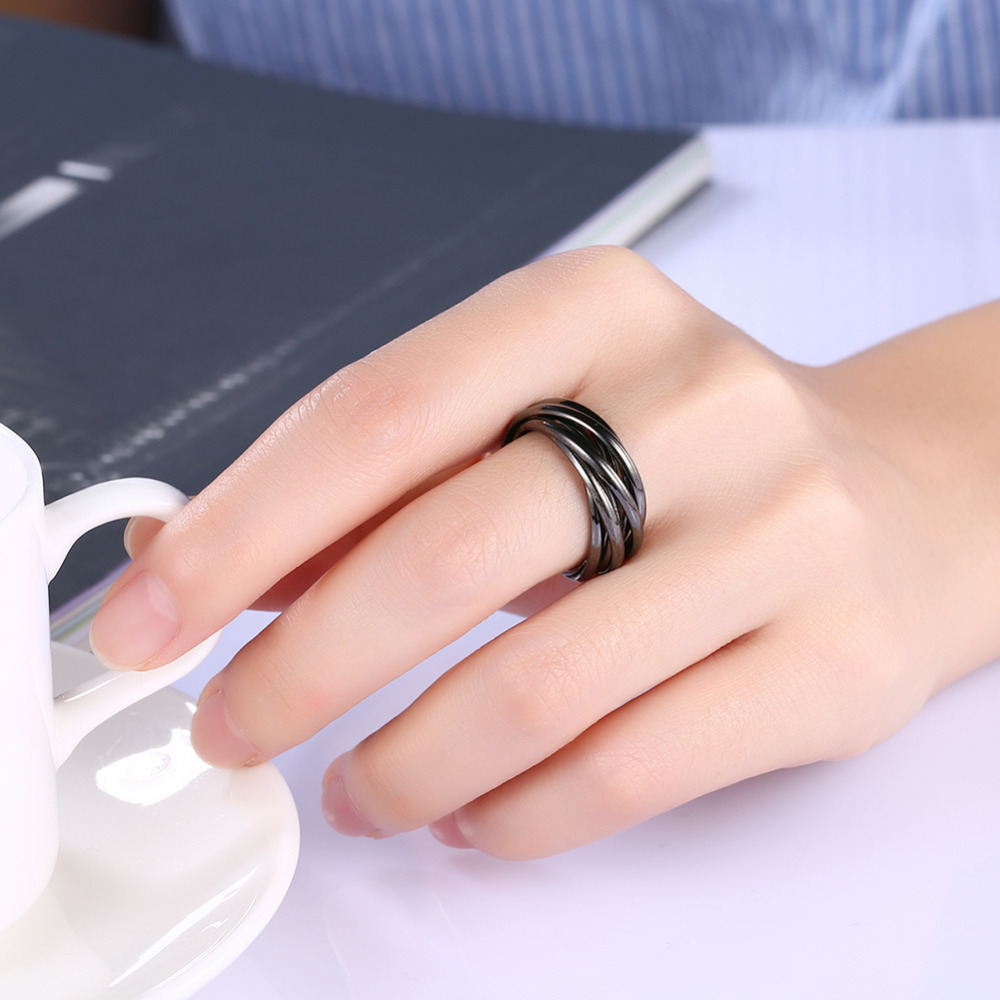 Fashion Rings For Men / Women Black Gun Plated Hemps Bridal Sets ...