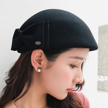 Hot Sell 2018 Fashion New Women Wool Fedoras Solid Color England Female Butterfly Berets Autumn Winter 100%Wool Hat
