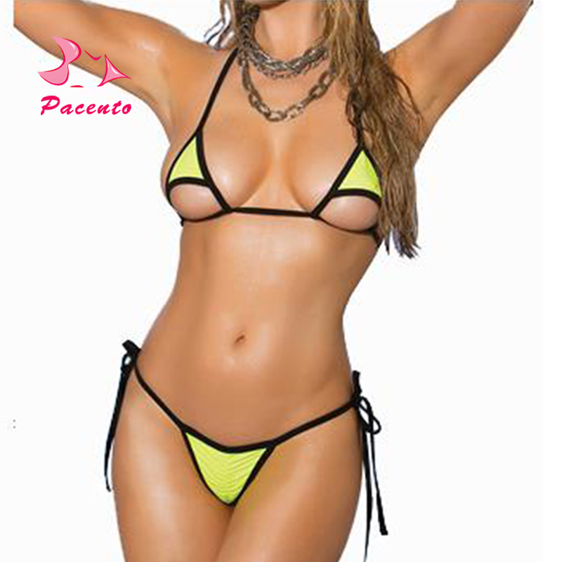 Pacento Bikinis Set Sexy Micro Bikini 2018 Women Two-piece Swimsuits Black White Swimwear Female Mini Thong Swiming Suits Women