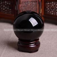 1PC Natural obsidian Quartz Magic Crystal Healing Ball Sphere 50MM + Stand natural stones and minerals F853 50MM